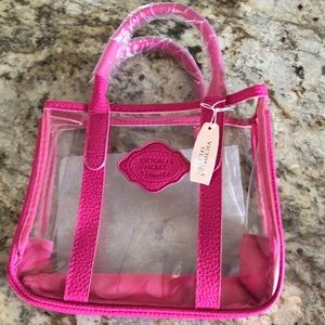 Victoria's Secret hot pink and clear mini tote bag